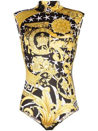 Versace Savage Barocco sleeveless bodysuit - White