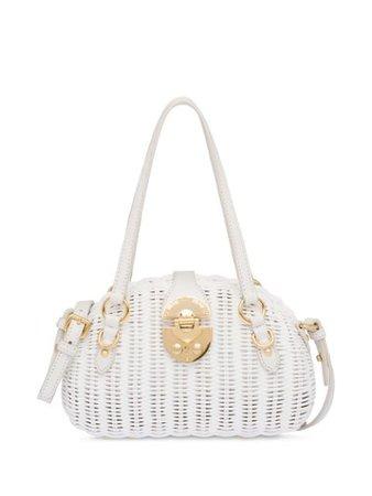 Shop white Miu Miu Wicker shoulder bag with Express Delivery - Farfetch