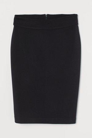 Patterned Pencil Skirt - Black