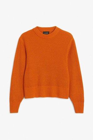 Puffed sleeve sweater - Carrot coma orange - Knitwear - Monki GB