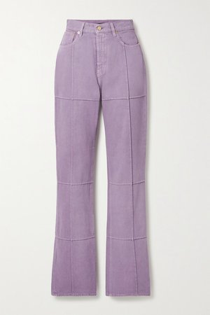 Organic High-rise Straight-leg Jeans - Lilac