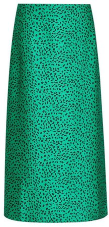 Green Animal Printed Bias Cut Midi Skirt