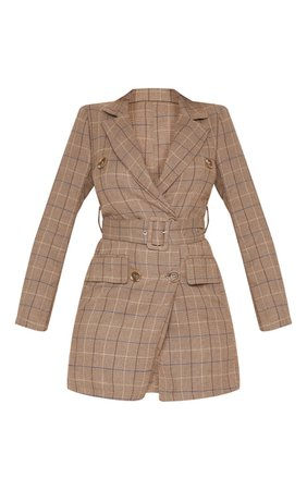Brown Check Belted Blazer Dress   Dresses   PrettyLittleThing USA