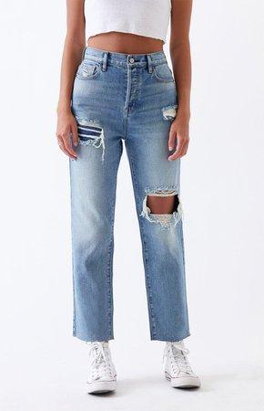 PacSun Light Ripped High Rise Straight Leg Jeans | PacSun