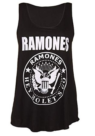 Amazon.com: Sidecca Women's Ramones Blitzkrieg Bop Logo Racerback Graphic Tank Top Juniors and Plus Size: Clothing