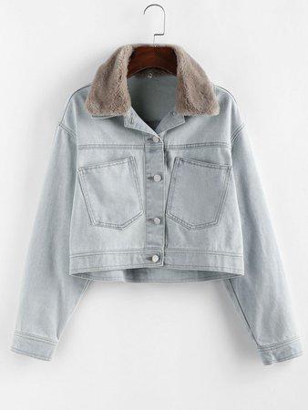 [35% OFF] 2020 ZAFUL Pocket Faux Fur Collar Drop Shoulder Denim Jacket In LIGHT BLUE | ZAFUL