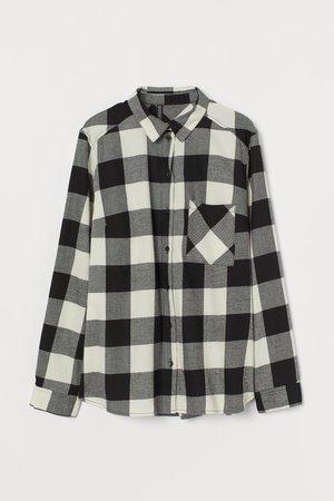 Cotton Shirt - Black/white plaid - Ladies | H&M US