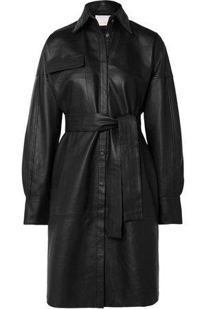 REMAIN Birger Christensen | Bologna belted leather dress | NET-A-PORTER.COM