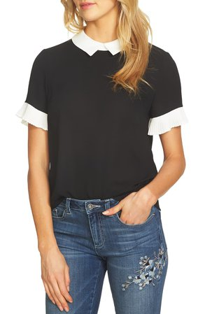 CeCe Pleat Sleeve Collared Crepe Blouse | Nordstrom