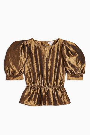 Gold Short Sleeve Puff Taffeta Blouse | Topshop