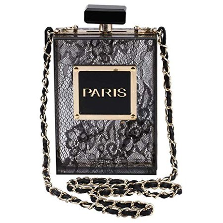 LETODE Women Acrylic Bag Black Paris Perfume Shape Evening Bags Purses Clutch Vintage Banquet Handbag (BLACK): Handbags: Amazon.com