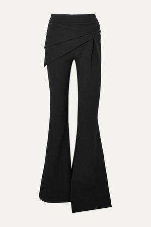 Hope Draped Stretch-crepe Flared Pants - Black