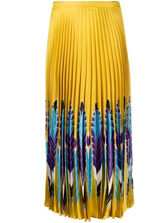 Valentino Feather Print Pleated Midi Skirt - Farfetch