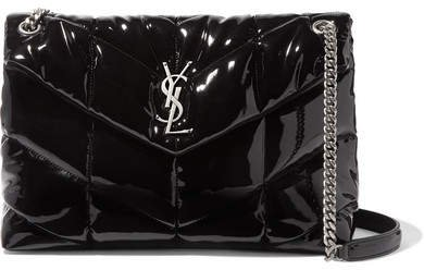 Loulou Quilted Patent-leather Shoulder Bag - Black