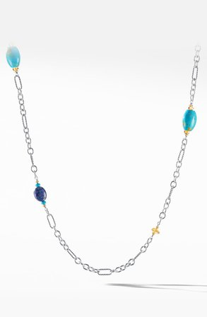 David Yurman Signature Bead and Chain Necklace with Turquoise and 18K Yellow Gold | Nordstrom