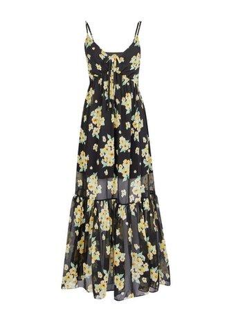 PETITE Yellow Floral Trapeze Maxi Dress | Miss Selfridge