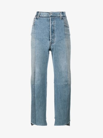 Vetements Blue Reworked High Waisted Cropped Jeans