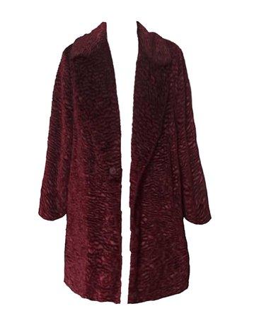 red crushed velvet textured coat