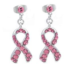 AmazonSmile: Light Pink Ribbon Breast Cancer Awareness Stud Post Earrings Rhinestones: Jewelry