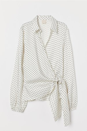 Wrapover Blouse with Ties - Cream/black dotted - Ladies | H&M US