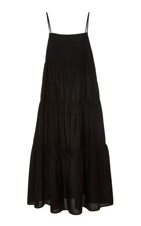 Matteau Swim Tiered Cotton-Poplin Midi Dress