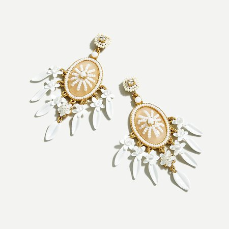 J.Crew: Beaded Cameo Floral Statement Earrings gold