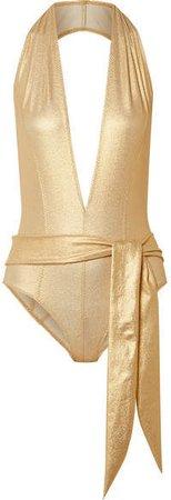 Riri Belted Metallic Stretch-crepe Halterneck Swimsuit - Gold