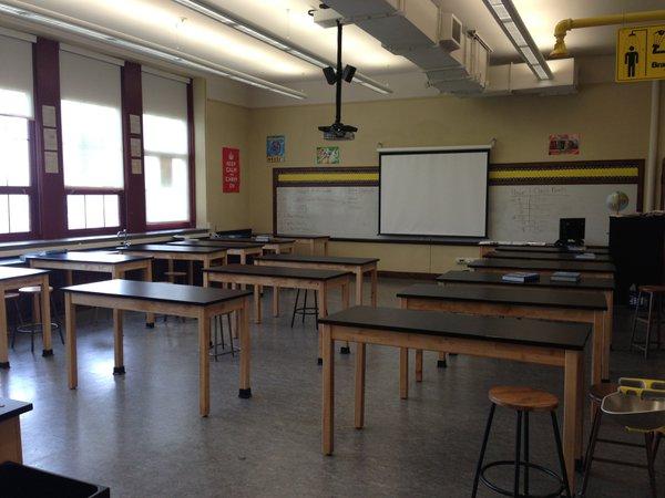 High school biology classroom