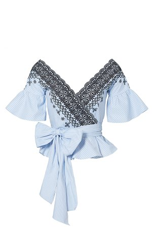 Blue Brigette Top by AMUR for $60 - $70 | Rent the Runway