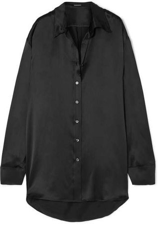Oversized Silk-charmeuse Shirt - Black