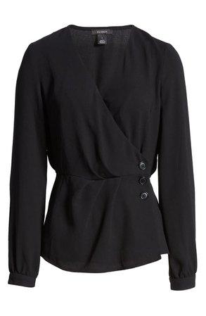 Halogen® Button Detail Wrap Blouse black
