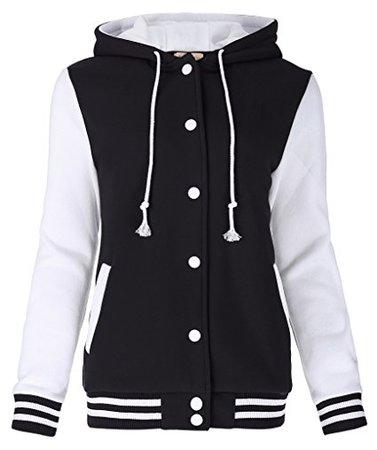 Kate Kasin Unisex Women's Varsity Baseball Hoodie Jacket Outerwear Bomber Coat at Amazon Men's Clothing store: