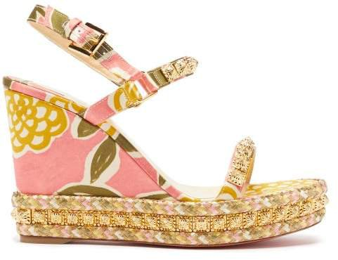 Pyraclou 110 Studded Satin Wedge Sandals - Womens - Multi