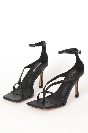 Chic Black Heels - Ankle Strap Heels - Vegan Leather Heels