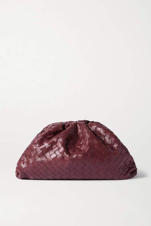 The Pouch Large Gathered Intrecciato Leather Clutch - Burgundy