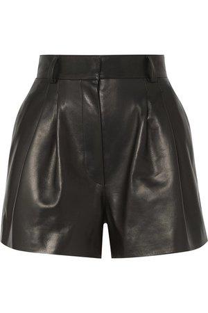 Alaïa   Pleated leather shorts   NET-A-PORTER.COM