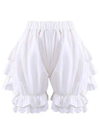 Antaina White Lace Cotton Victorian Ruffles Lolita Pumpkin Bloomers Shorts Pants at Amazon Women's Clothing store