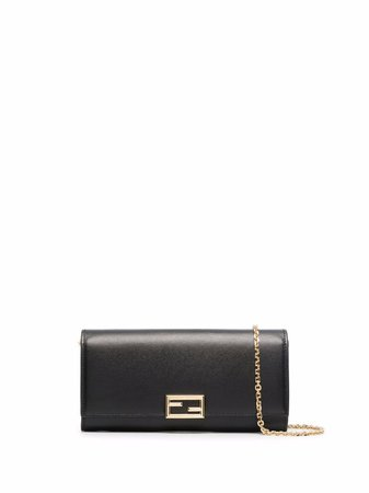 Shop Fendi logo-plaque leather clutch bag with Express Delivery - FARFETCH