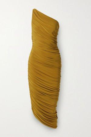 Mustard Diana one-shoulder ruched stretch-jersey dress | Norma Kamali | NET-A-PORTER