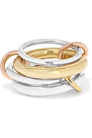 Spinelli Kilcollin | Cici set of four 18-karat yellow and rose gold and sterling silver rings | NET-A-PORTER.COM