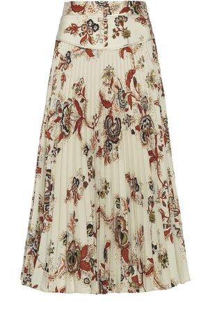 Etro Floral-Print Crepe Skirt
