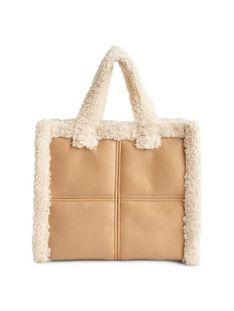 Stand Studio Medium Lolita Faux Shearling-Trimmed Tote | SaksFifthAvenue