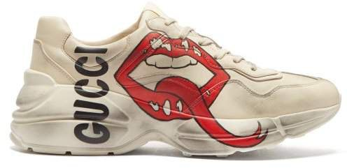 Rhyton Mouth And Logo Print Leather Trainers - Womens - Ivory
