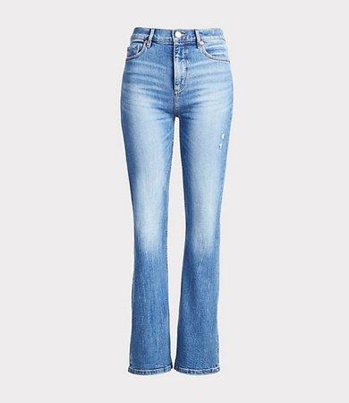 Petite High Waist Slim Flare Jeans in Medium Light Authentic Indigo Wash