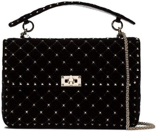 Black Rockstud Spike Quilted Large Velvet Shoulder Bag