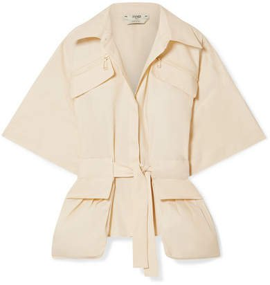 Belted Cotton-poplin Shirt - Ecru