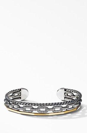 David Yurman Stax Three-Row Cuff Bracelet in Blackened Silver with Diamonds | Nordstrom