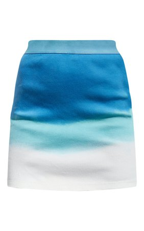 Blue Ombre Ribbed Mini Skirt | PrettyLittleThing USA