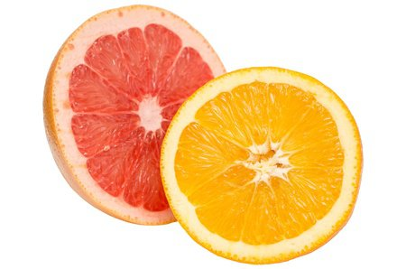 Tropical Fruits Pink Grapefruit And Orange Isolated On White Stock Photo, Picture And Royalty Free Image. Image 18762439.