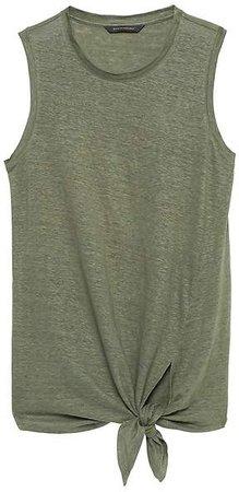 Linen Tie-Front Tank Top